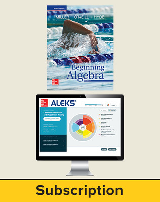Miller, Beginning Algebra, 2018, 5e, ALEKS®360 Student Bundle, 6-year subscription