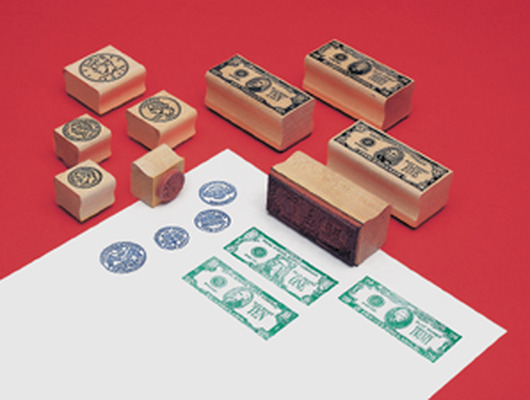 Money Rubber Stamp Set: Coin Stamps Heads