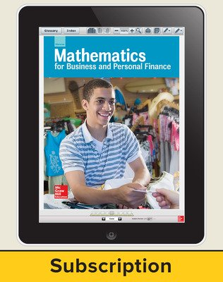 Glencoe Mathematics for Business and Personal Finance, Online Student Edition, 1 year subscription