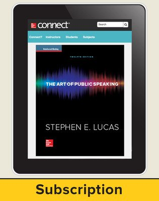 Lucas, The Art of Public Speaking, 2015, 12e, Connect Plus, 1-year subscription