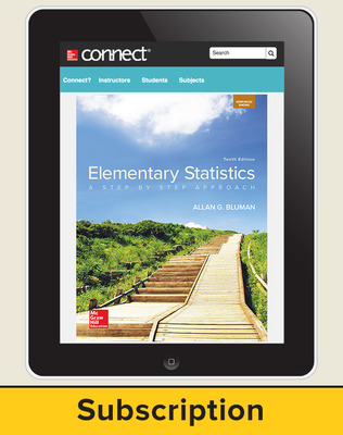 Bluman, Elementary Statistics, 2018, 10e, ConnectED eBook, 6-year subscription
