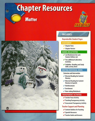 Glencoe Earth Science, Grade 6, Chapter Fast Files: Matter