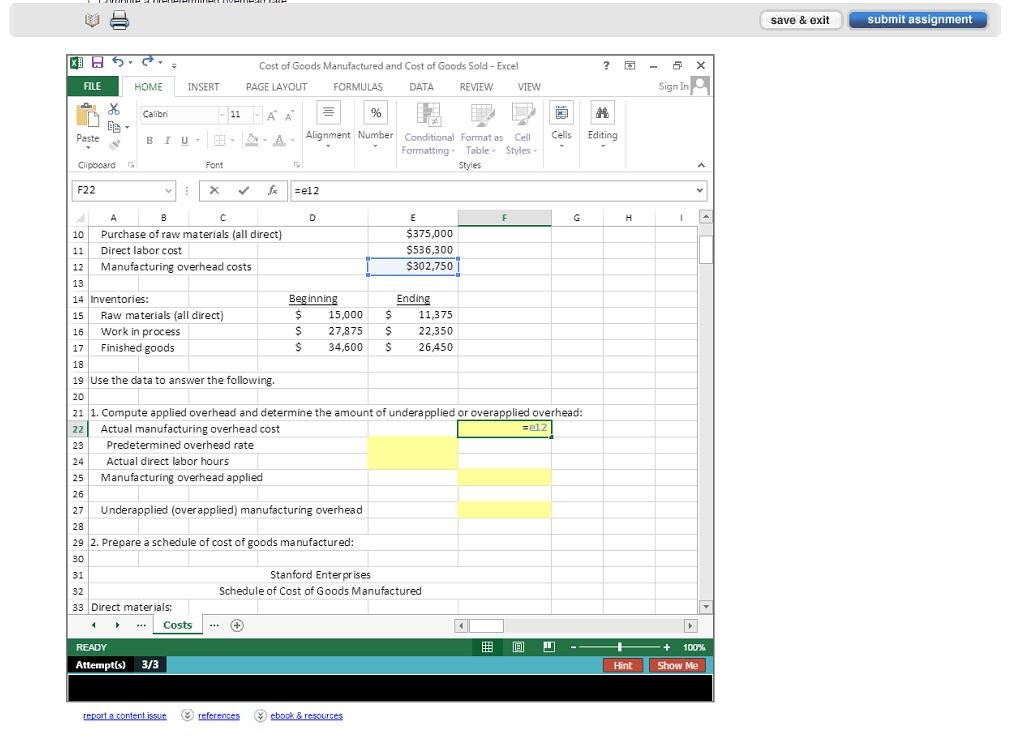 Excel Simulation screenshot
