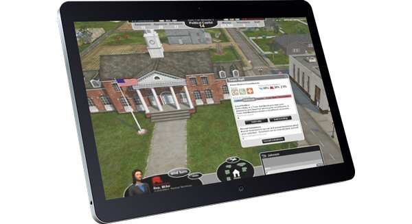 Government in Action educational game (shown on iPad)