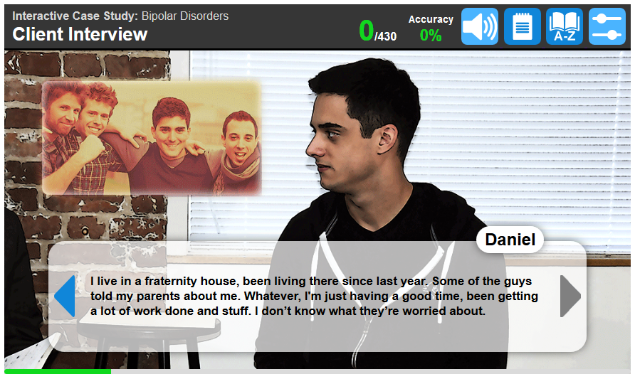 Example of a screen students will see as they observe the client interview