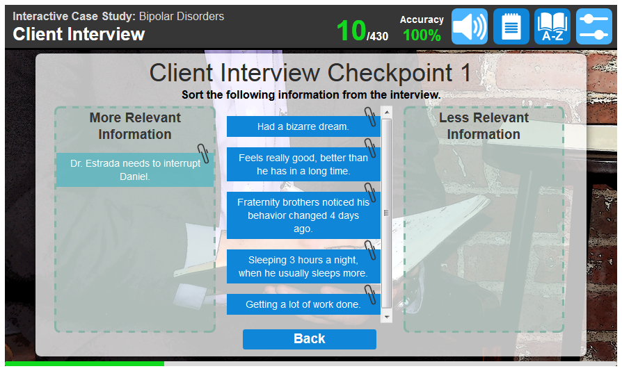 Example of a screen students will see at three checkpoints during the case