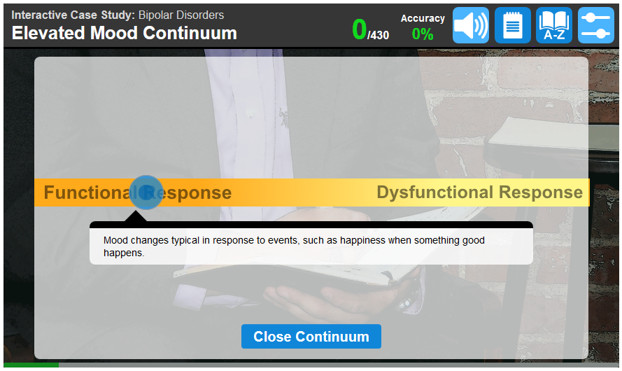 Example of a screen showing the range of behavior for the particular disorder