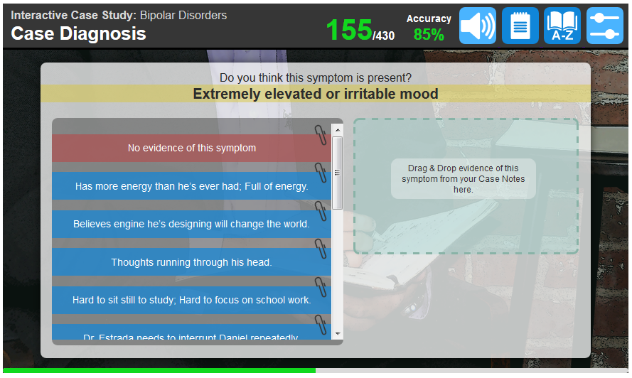 Example of a screen showing the conclusion of the interview