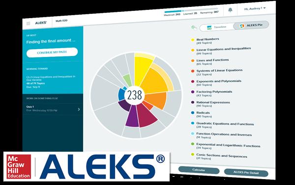 aleks screenshot and logo