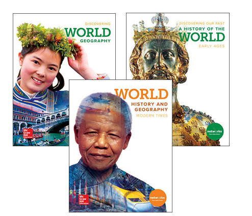 Discovering our Past: A History of the World Early Ages, Discover World Geography, World History & Geography Modern Times covers
