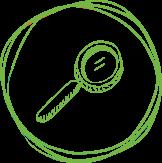 Drawn magnifying glass in circle
