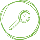 Drawn magnifying glass in circle